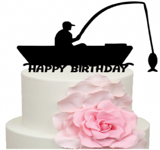 Fine Fisherman In Boat Happy Birthday Cake Acrylic Topper Funny Birthday Cards Online Elaedamsfinfo